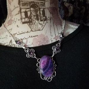 Beautiful Botswana Agate Amethyst 925 Necklace